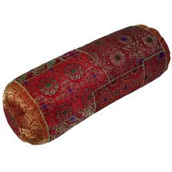 Guru-Shop Nackenrolle Patchwork Nackenrolle, Sofakissen 50 cm - rot rot