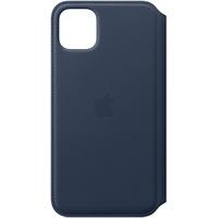 Apple iPhone 11 Pro Max Leder Folio Case Tiefseeblau