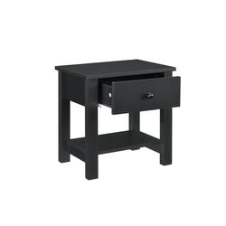 en.casa Nachttisch, Nachttisch - 40 x 29,7 x 41,5cm - Schwarz schwarz