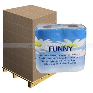 Toilettenpapier hochweiß 3-lagig, Palette Palette mit 33 Pack a 64 Rollen x 200 Blatt, 3-lagig