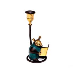 Brillibrum Kerzenständer Kerzenständer Farbig Kerzenständer Vintage Leseratte Tierfigur Maus Tischdekoration versilbert für Stabkerzen