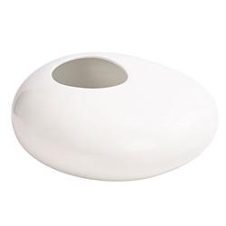 Dehner Übertopf Premium Übertopf Stone, Ø 33 cm x 12 cm, Keramik weiß Ø 33 cm x 13 cm