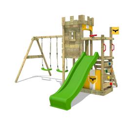 FATMOOSE Spielturm Ritterburg BoldBaron mit Schaukel & apfelgrüner Rutsche, Spielhaus mit Sandkasten, Leiter & Spiel-Zubehör gelb