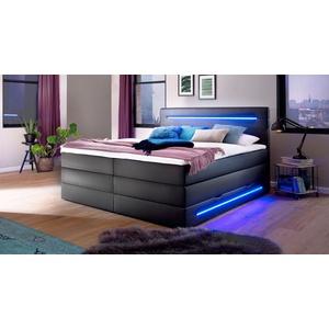 Schwarzes LED-Boxspringbett 180x200 cm mit Bettkasten - Tollocan