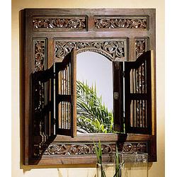Spiegel in Massivholz Akazie mit Gebrauchsspuren-Optik, mit Flügeltüren, Maße B / H in ca. 80/90 cm