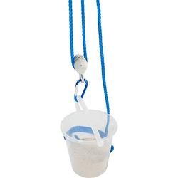 Flaschenzug mit Eimer, blau