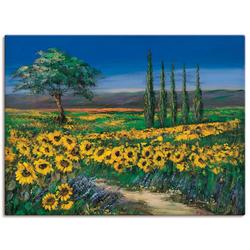 Artland Wandbild Sonnenblumenfeld, Blumen (1 Stück) 60 cm x 45 cm