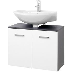 Unterbeckenschrank BOLOGNA Waschtisch Unterschrank 2 Türen 70 cm weiss / grau