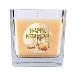 HS Candle Duftkerze (1-tlg), Frohes Neues Jahr - Kerze im Glas, Kerze mit Neujahr - Motiv, vers. Düfte / Größen natur 8 cm x 8 cm x 8 cm
