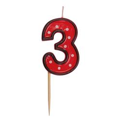 Zahlenkerze, Geburtstagskerze `3` rot, ca. 85 mm