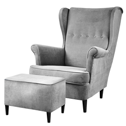 Fotel z podnóżkiem Malmo jasnoszary welur
