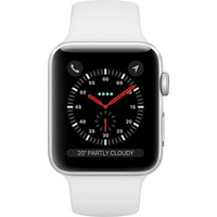 Apple Watch Series 3 (GPS + Cellular) 38mm Aluminiumgehäuse silber mit Sportarmband weiß