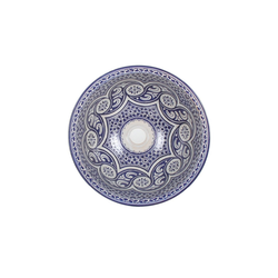 Casa Moro Waschbecken Mediterrane Keramik-Waschbecken Fes97 rund Ø 40 cm bunt Höhe 18 cm Handmade Waschschale, Marokkanische Handwaschbecken Aufsatzwaschbecken für Bad Waschtisch Gäste-WC, WB40307, Handmade