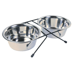 Trixie Eat on Feet Stainless Steel Bowl Set, Durchmesser: 15 cm