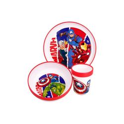 MARVEL Kindergeschirr-Set Marvel Avengers Antirutsch Mikrowellengeeignet, Frühstücksset, Mikrowellengeeignet, Anti-Rutsch