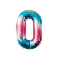 MyBeautyworld24 Folienballon Folienballon Regenbogen Zahlenballon Heliumballon Riesenzahl Luftballon Party Kinder-Geburtstag Zahl 0