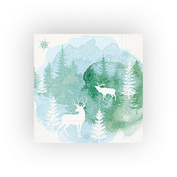 Paper+Design Papierserviette Aquarell Wald, (5 St), 33 cm x 33 cm