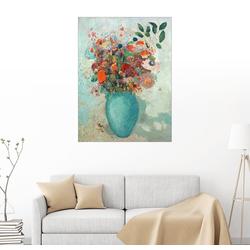 Posterlounge Wandbild, Blumen in einer türkisen Vase 70 cm x 90 cm