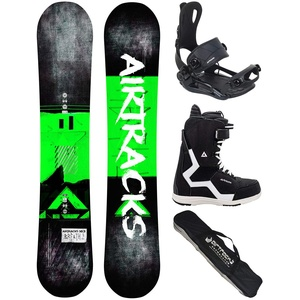 Airtracks Snowboard Set/Board Breath Wide Flat Rocker 163 + Snowboard Bindung Master + Boots Master QL 46 + Sb Bag