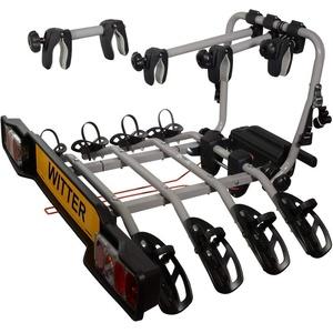 Witter Towbars ZX304EU Fahrradträger für die Anhängerkupplung - Kupplungsfahrradträger für 4 Fahrräder abklappbar - Heckträger inkl. 7- bzw. 13-poligem Anschluss mit 60 kg Zuladung