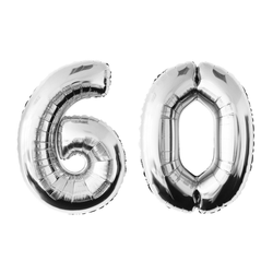 MyBeautyworld24 Folienballon Folienballon Zahlenballon in der Farbe silber Heliumballon Riesenzahl Geburtstag Deko Höhe 100 cm 60