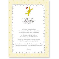 Babyshower Karten (10 Karten) selbst gestalten, Babyshower Häschen - Gelb - Weiß