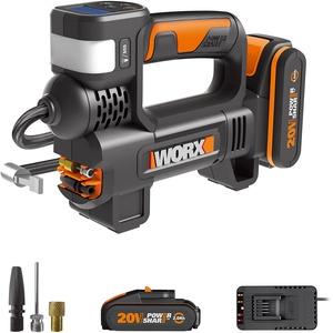 WORX 20V Akku Kompressor WX092, PowerShare, Akku Kompressor Luftpumpe mit Leistungsstarkes LED-Licht & SOS-Notlicht, Max. 10bar Hochdruck, Reifendrucküberwachung,1X Akku,1X Ladegerät