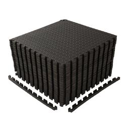 FCH Bodenmatte Schutzmattenset mit Endstücken (Set, 18 tlg), Bodenschutzmatte Unterlegmatten Bodenschutz Schutzmatten Puzzlematte Poolmatte schwarz