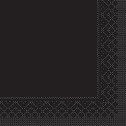 Mank Tissue Basics Servietten, 33 x 33  cm, 1/4 Falz, 3-lagig, 1 Karton = 6 x 100 Stück = 600 Servietten, schwarz