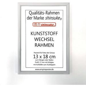 empireposter Bilderrahmen Foto-Rahmen 13x18 cm Kunststoff, Wechselrahmen aus Kunststoff, Foto-Rahmen Shinsuke® mit Echtglas 13x18 cm weiss weiß