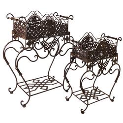 Casa Padrino Jugendstil  Pflanzentopfständer Set aus Metall Rostfarben - Blumentopfständer - Blumenständer Barock