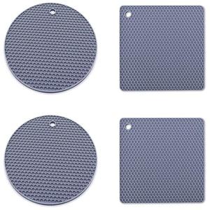 Silikon Untersetzer,4 Stück Silikon Trivet Sillicone Topf Inhaber Pads für Geschirr,Löffelablage,Kochen und Essen (Grau)