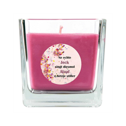 HS Candle Duftkerze (1-tlg), Karneval - Fasching Kerze im Bonbon Glas, Kerze mit Karneval's - Motiv lila Ø 8 cm x 8 cm x 8 cm