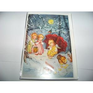 Nostalgische Adventskalender - Karte Engel mit Eichhörnchen im Schnee