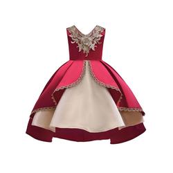 TOPMELON Abendkleid Vintage-Kleid Fliege Goldene Stickerei rot 120