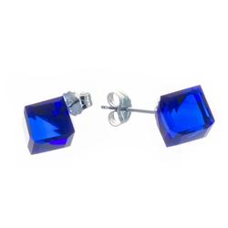 Bella Carina Paar Ohrstecker dunkelblau 7,5 mm, 925 Sterling Silber