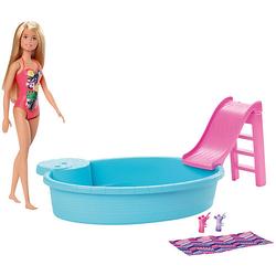 Barbie Pool Spielset mit Puppe (blond), Anziehpuppe, Barbie Möbel, Barbie Zubehör