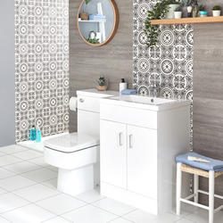 Waschtisch mit Unterschrank Kombi-Set mit Stand Toilette Weiß, Rechts - Geo, von Hudson Reed