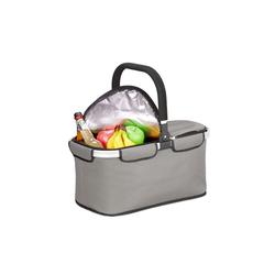 relaxdays Einkaufskorb Faltbarer Einkaufskorb mit Kühlfunktion grau