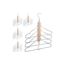 relaxdays Mehrfach-Kleiderbügel 5 x Mehrfach Kleiderbügel Holz