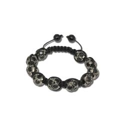 SilberDream Armband SDA926 SilberDream Shamballa Armband silber (Armbänder), Damen Armband (Shamballa Kugeln) ca. 18cm, ca. 23cm, Farbe: schwarz, silber