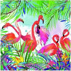 Linoows Papierserviette 20 Servietten Sommer, Cocktail Bar, Flamingo und, Motiv Karibik, Sommer, Flamingo und Pflanzen