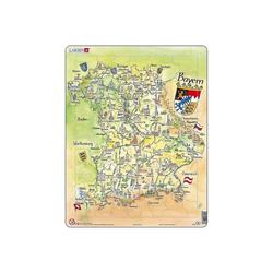 Larsen Puzzle Rahmen-Puzzle, 80 Teile, 36x28 cm, Karte Bayern, Puzzleteile