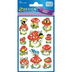 Sticker 76x120mm Papier 3 Bogen Motiv Lustige Pilze