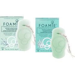 FOAMIE Haarpflege-Set Foamie festes Shampoo Aloe& Foamie fester Conditioner Aloe, 2-tlg.