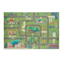 relaxdays Spielteppich Straße grün/bunt 120,0 x 80,0 cm