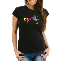 MoonWorks Print-Shirt Damen T-Shirt Equality Pride LGBT Slim Fit Moonworks® mit Print XL
