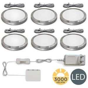 B.K.Licht LED Unterbauleuchte BKL1187, 6er Set LED Unterbauleuchten, Schrankleuchten, Komplettset 6x 1,8W, 6x 170lm 3.000K warmweiße Lichtfarbe, LED Küchenlampen, Vitrinenbeleuchtung, Kippschalter