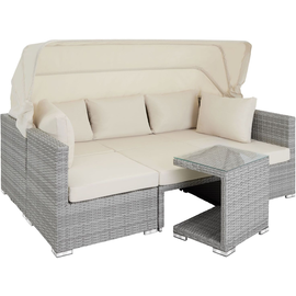 Tectake San Marino Polyrattan Lounge-Set hellgrau