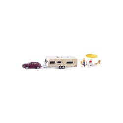 Siku Spielzeug-Auto SIKU 2542 PKW mit Wohnwagen 1:55